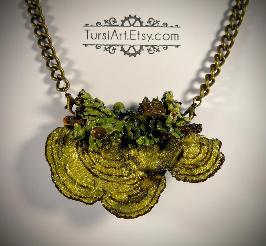 Mushroom and Lichen Pendant Brooch combo by tursiart