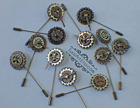 Steampunk Hat Pin - Clockwork Lapel Pin, Tie Pin,