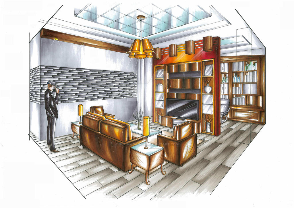 Living Room 2 Point Perspective living room perspectivesurjuliannes on deviantart