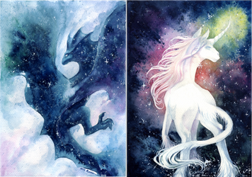 Nebulawing And Galacticorn by Calluna-Draconis