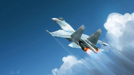 Su-27  mastering clouds by J-Lepelletier
