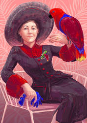 Lady with parrot by Palila