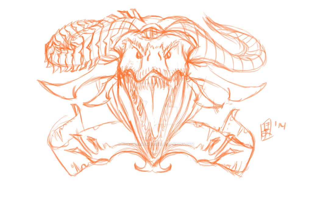 Dragon tattoo base sketch W.I.P by HoratioArcherfish