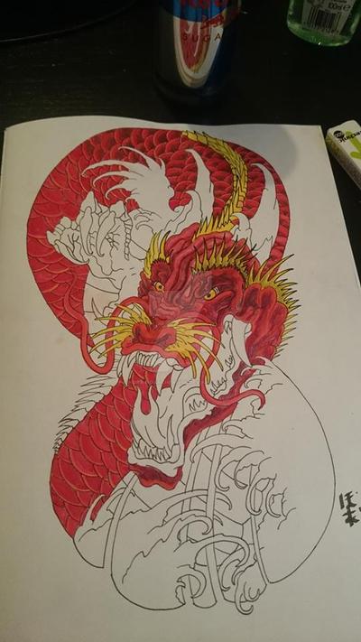 Dragon Tatt W.I.P no.2 by HoratioArcherfish