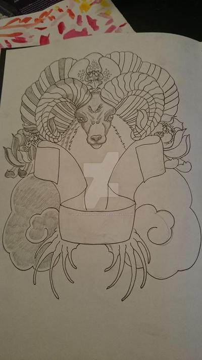 Goat, cloud, plant thingy tatt by HoratioArcherfish
