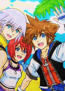 Sora, Kairi, and Riku: Happy days