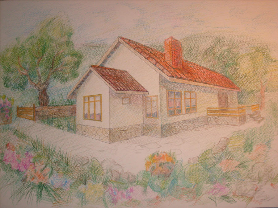 how to draw house with garden