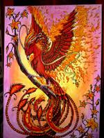 Canvas Phoenix Fire by Oeuvres-de-Michiko