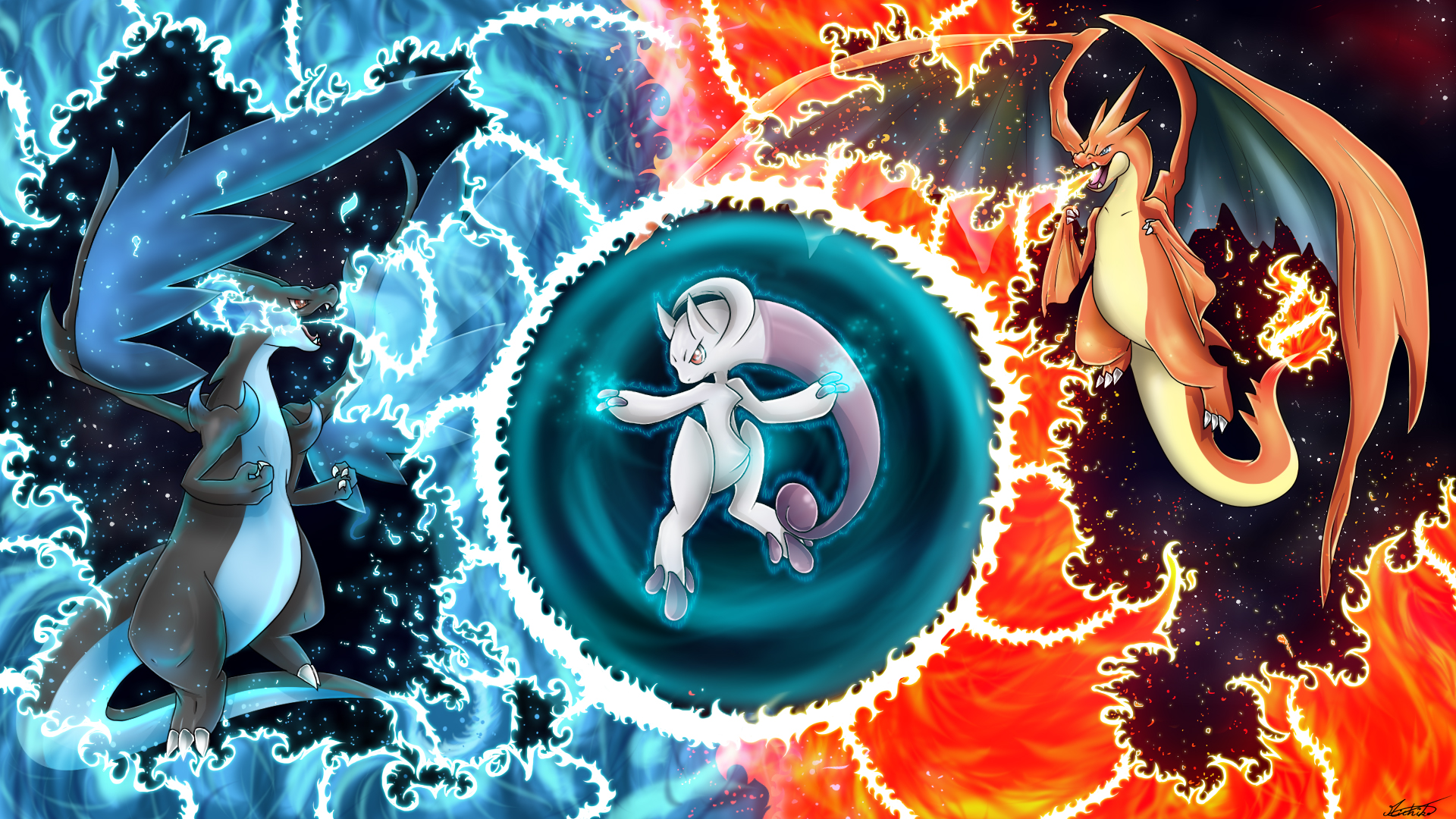 Mega Charizard X Y Vs Mewtwo By Oeuvres De Michiko On DeviantArt