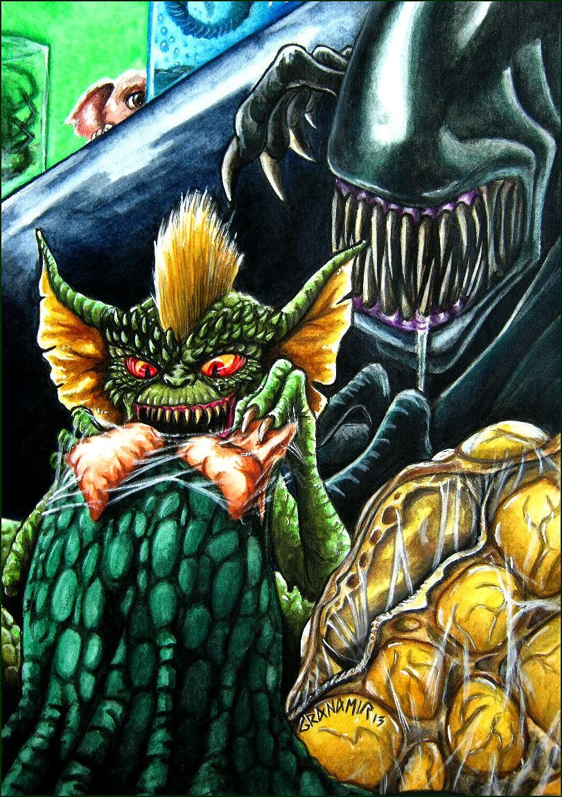 Alien vs Gremlins by Granamir by Granamir