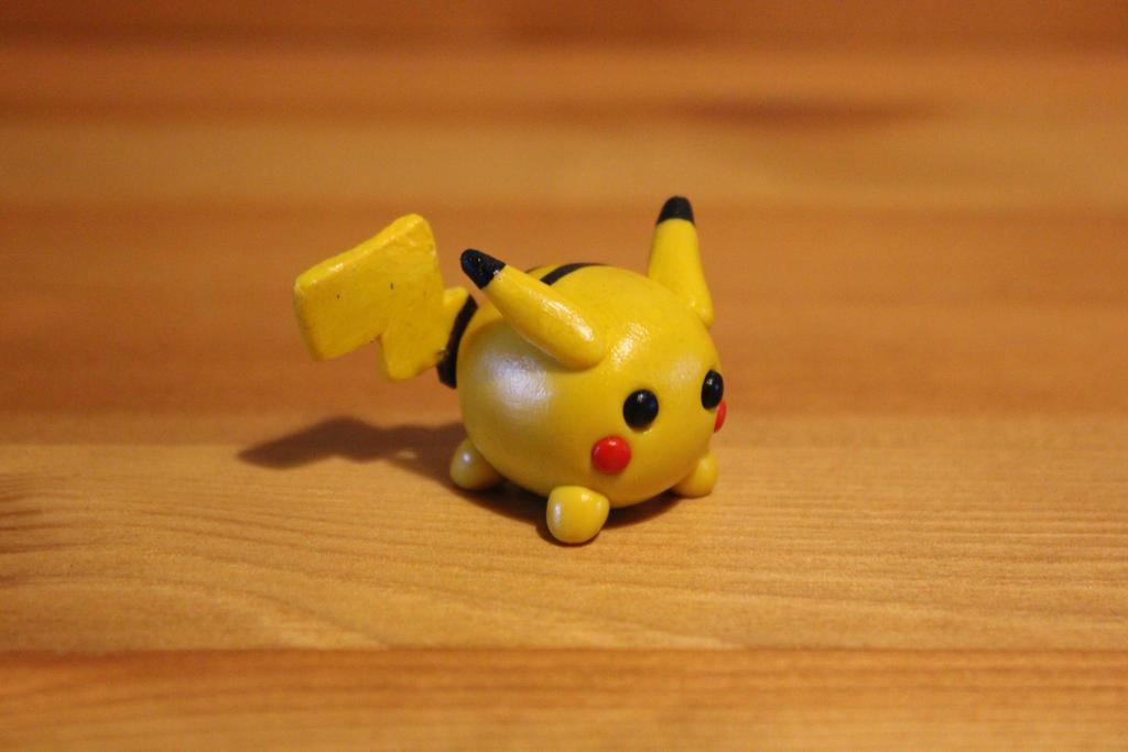 Miniature polymer clay pikachu by LittleRedPanda93