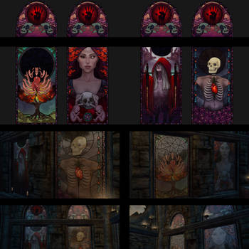 Dark Brotherhood Sanctuary Stained Glass Textures by aluckymuse
