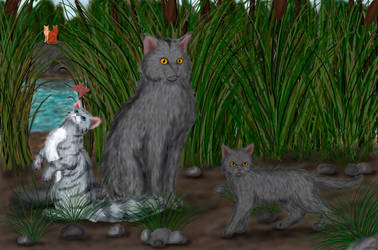 Graystripe, Featherkit and Stormkit by Alisa222