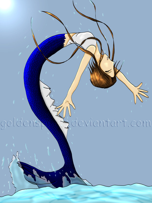 Jumping Mermaid in color by goldenspines on DeviantArt