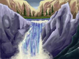 Waterfall background by pandawhacker