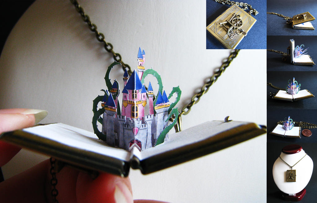 Sleeping Beauty's Castle - Miniature Pop-up Locket by Paper-Peaches
