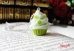 Polymer clay lime cookie necklace