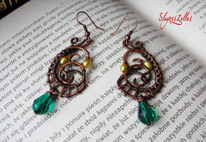 Wire wrapping earrings with natural pearls SOLD by Benia1991