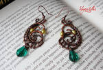 Wire wrapping earrings with natural pearls SOLD