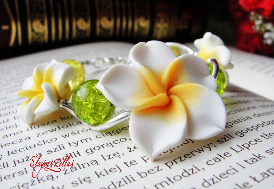 Polymer clay bracelet with white yellow flowers by benia1991 on polymer clay bracelet with white yellow flowers by benia1991 mightylinksfo