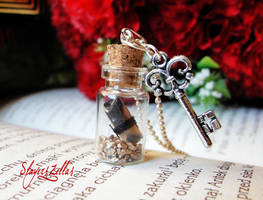 Message in a tiny bottle necklace - sooty letter by Benia1991
