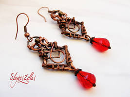 Wire wrapping earrings by Benia1991