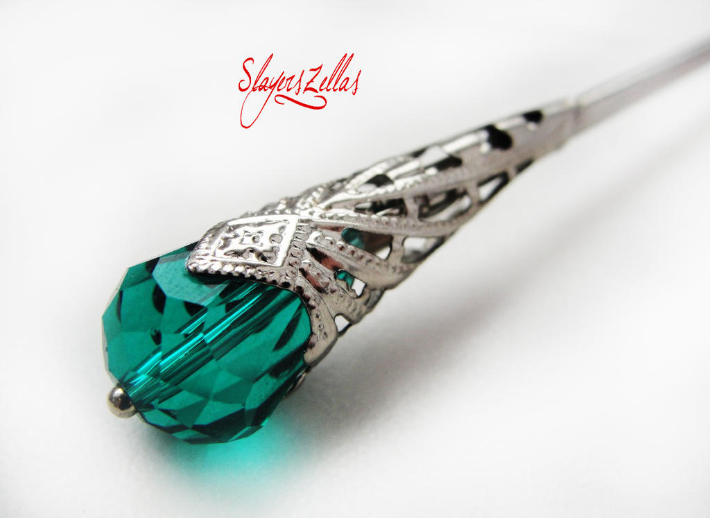 Hair stick with sea green faceted crystal by Benia1991