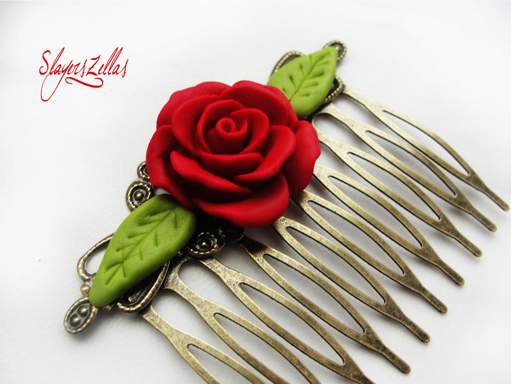 Gothic floral comb with red rose by Benia1991