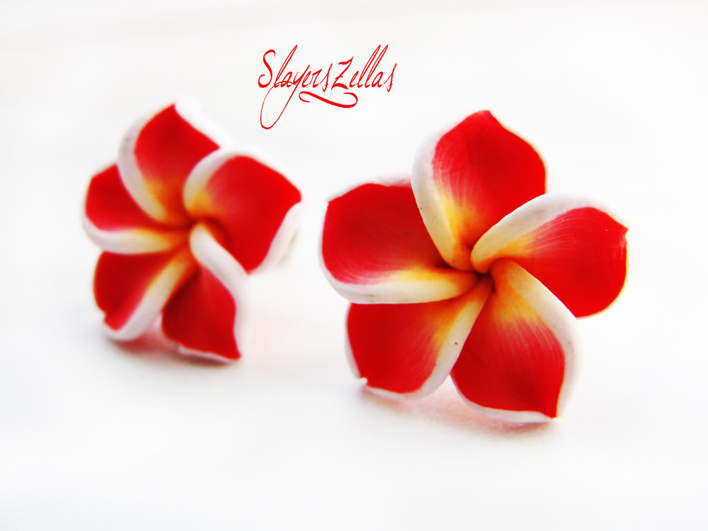 Red polymer clay flowers post earrings by Benia1991