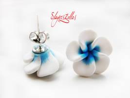 White n Blue polymer clay flowers post earrings by Benia1991