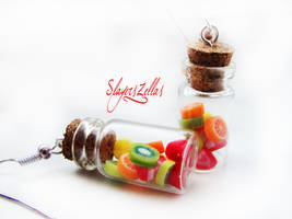 Earrings - Bottles with fruits