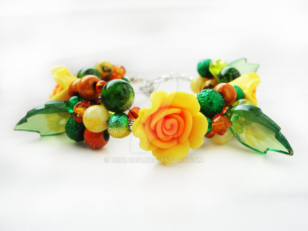 FOR SALE Bracelet - Yellow garden by Benia1991