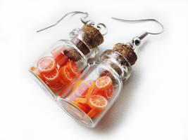 FOR SALE Bottle earrings - Orange by Benia1991