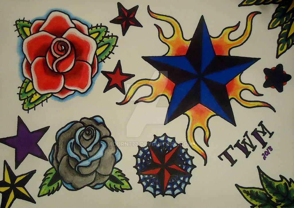 Star Rose Tattoo Flash By Mourn777 On Deviantart