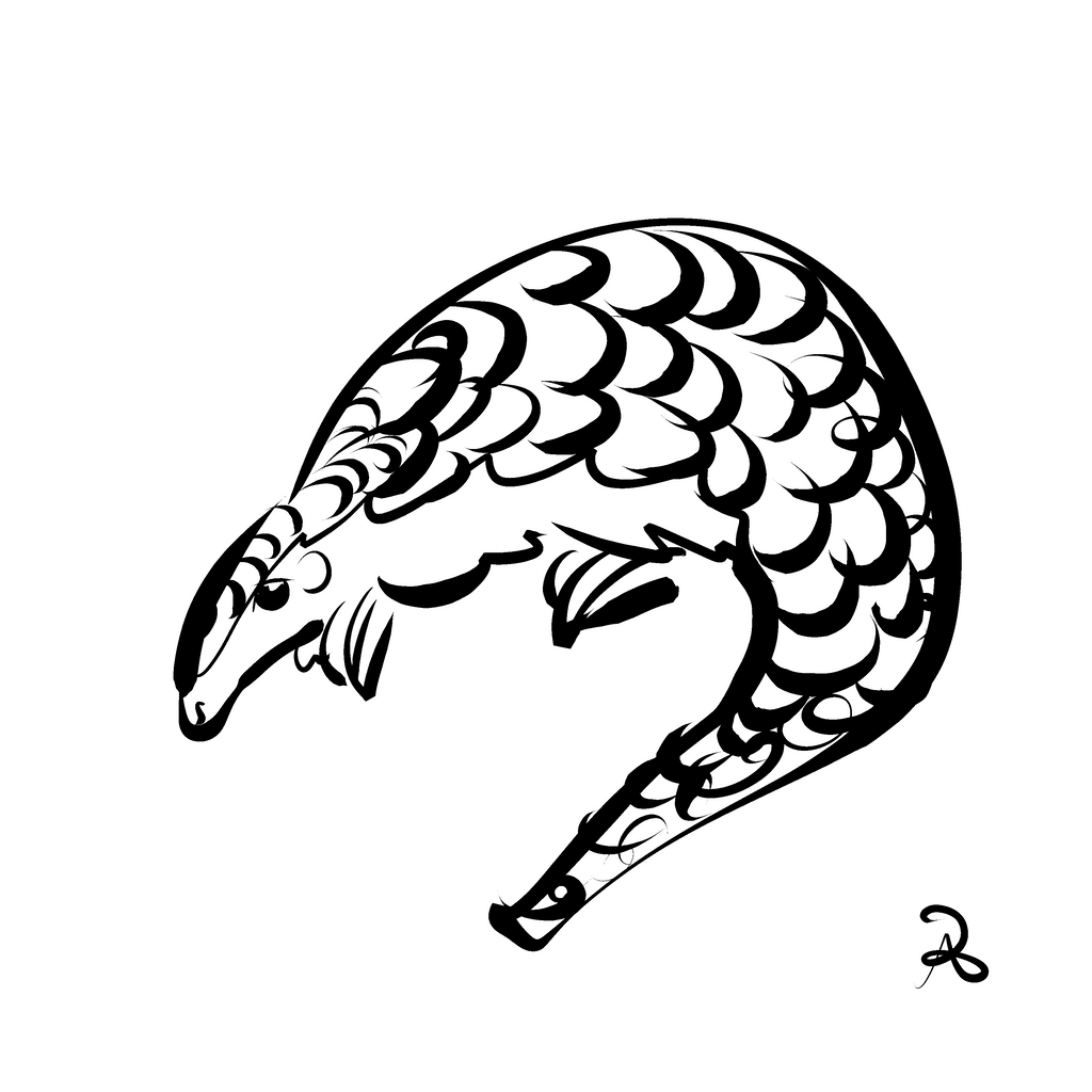 Inktober 2018 #10 - Chinese Pangolin by callanerial