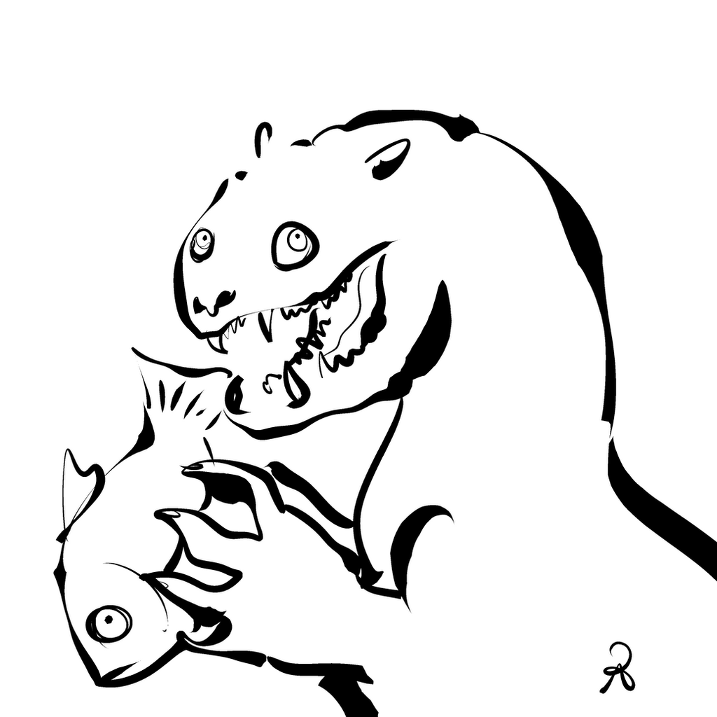 Inktober 2018 #14 - Giant Otter by callanerial