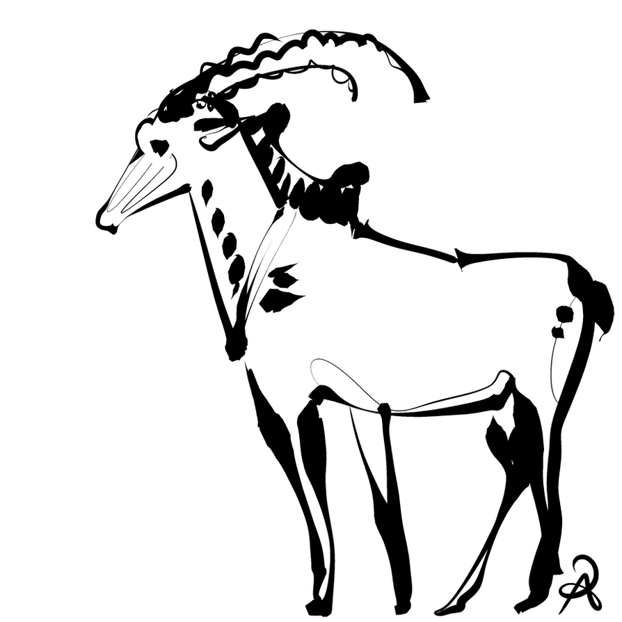 Inktober 2018 #15 - GIant Sable Antelope by callanerial