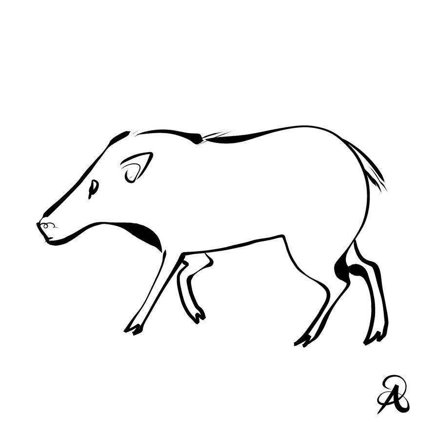 Inktober 2018 #25 - Pygmy Hog by callanerial