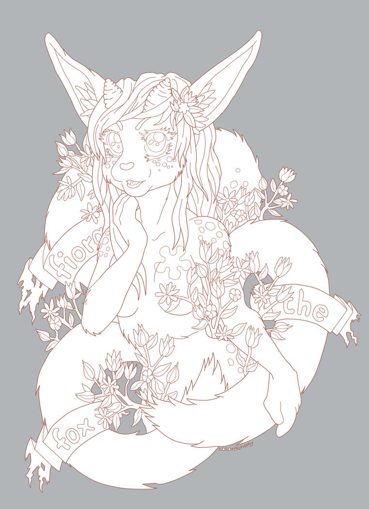 Fiora the Fox line art (unfinished) by coloralchemy