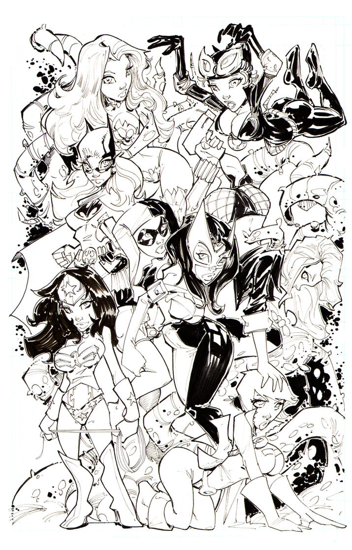 DC GIRLS HIGH RES INKS by rantz