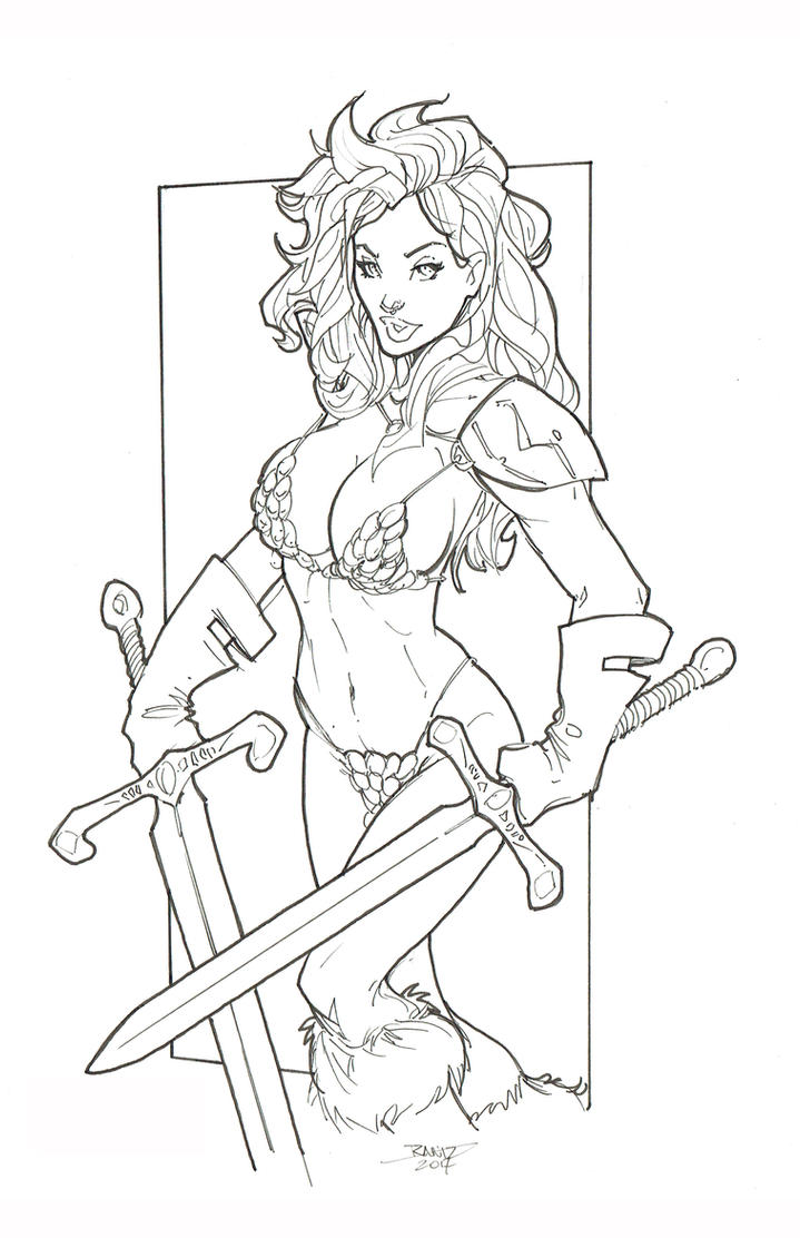 Color Me - Red Sonja BW by rantz