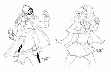 Batgirl vs Supergirl by rantz