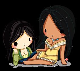 Mulan and Pocahontas by Yoshiebutt