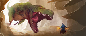 Dino vs Mage by drazebot