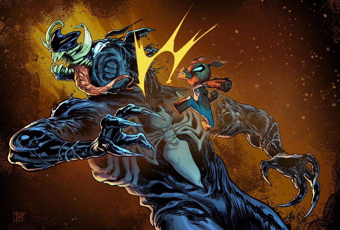 Spider pig vs Venom by drazebot