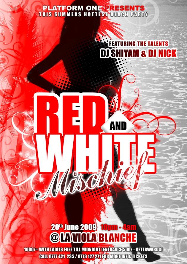 red white mischief party flyer by darkgale on deviantart