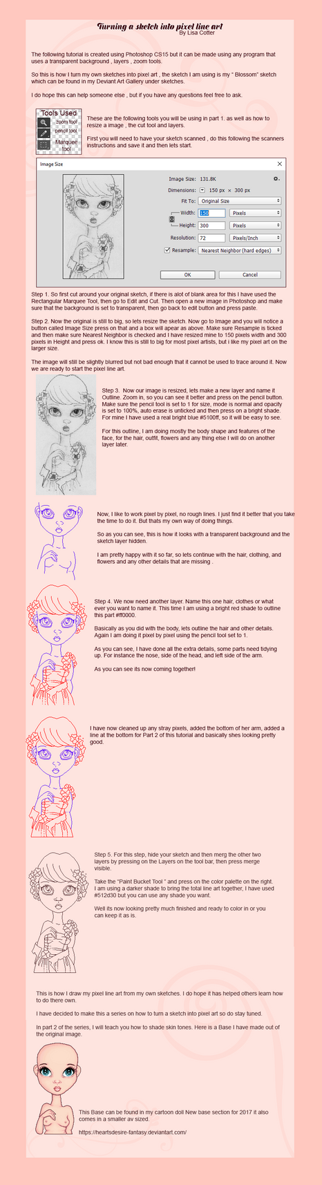 How to turn a sketch into pixel line art tutorial by Heartsdesire-fantasy