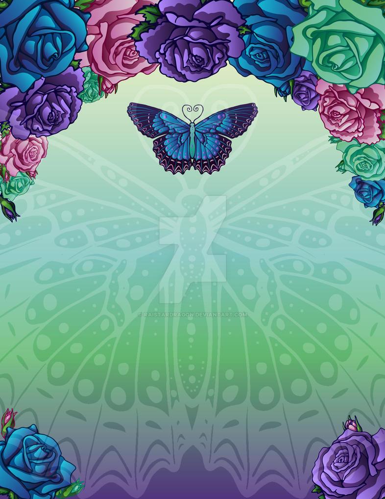 Vector Roses Butterfly Invitation by RaiStarDragon