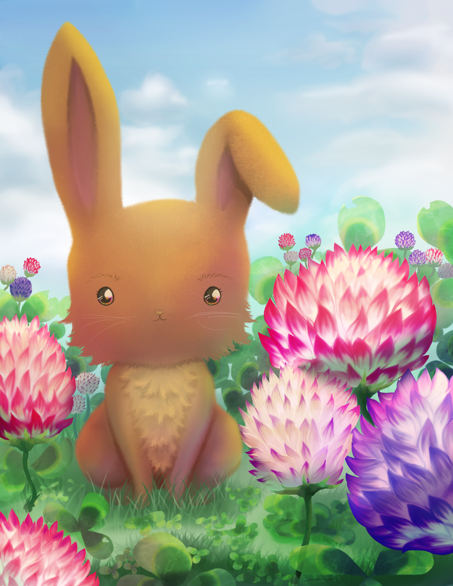 Bunny with Clover by CosmosFlurry
