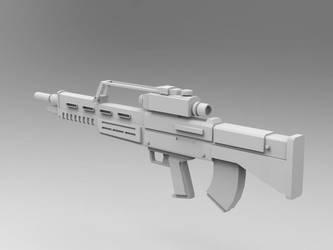 WIP bullpup rifle design rear by larrynguyen0096
